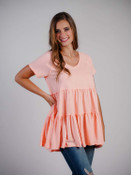 peach babydoll tiered top