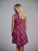 retro style pink and red floral dress zipper and pockets Molly Bracken