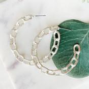 Silver Chain Link Hoop Earring