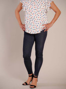 Dark navy jeggings with front and back pockets and decorative button at top of faux-fly