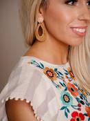 Natural Rattan Teardrop Post Earrings