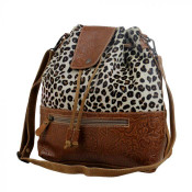 This leopard print hairon bag was tailored ingeniously with embossed leather which covers the magnet snap flap and the bottom of the bag. Crafted to a standard of perfection, this bag is ideal for everyday use. Leather base, back, and adjustable cross-body strap; zipper pockets on front and back; cinch close with leather string thru metal grommets; inside is fully lined with two slip pockets and a zipper pocket.