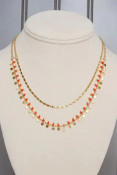 """red gold Two layer beaded necklace with lobsterclaw clasp. Adjustable from 15"""" to 17""""; longer chain drops an additional inch. Nickle and lead free."""