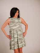 sage green camo sleeveless tiered dress Mudpie