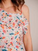 one shoulder floral romper spaghetti strap pockets Molly Bracken