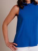 sleeveless top orange blue ruffle neck tie back