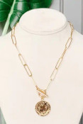 """Paperclip shaped oval chain link necklace with 1"""" hammered coin pendant. 17"""" necklace with toggle clasp. Nickel and lead free."""