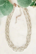 """Three chains of textured oval links. The shortest is adjustable from 14.5-18"""" and the other two drop in half inch increments. Nickel and lead free."""
