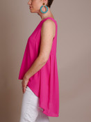 hot pink high low sleeveless blouse
