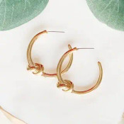"1 1/8"" hoop earrings with post back. Gold dipped brass"