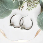 """1 1/8"""" hoop earrings with post back. White gold dipped brass"""
