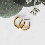 "5/8"" twisted hoop earrings on post backs. Gold dipped brass"