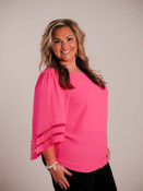 Hot pink top. Round neck, flowy 3/4 sleeves with pink sheer ribbon detail, vertical seam down the back