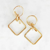 """Circle and square links tied together with a knot. 1.5"""" drop. Gold dipped brass"""
