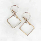 """Circle and square links tied together with a knot. 1.5"""" drop. White-gold dipped brass"""