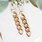 """Dangley chain link earrings. Post back, 2 1/4"""" drop"""