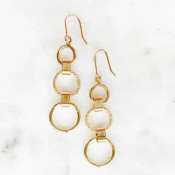 """Top and bottom circles are shiny and the middle circle is cut to sparkle! These gold dipped brass earrings dangle 2 3/8"""" from their hooks"""