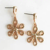 """Golden thread wrapped lace look earrings. 1 1/4"""" drop from post backs"""