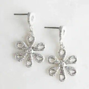 """Silvery thread wrapped lace look earrings. 1 1/4"""" drop from post backs"""