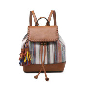 woven canvas bag features a fun, boho stripe contrast and multicolored fringe tassels. Vegan leather handle, top, base, and trim details. Includes adjustable/removable backpack straps. Inside includes a zipper pocket and two slip pockets. Cinch close and fold-over flap with magnet button at top.