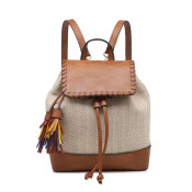 woven pattern canvas backpack features fun multicolored fringe tassels and whipstitch detail on top flap. Vegan leather handle, top, base, trim details, and adjustable/removable backpack straps. Inside includes a zipper pocket and two slip pockets. Cinch close and fold-over flap with magnet button at top