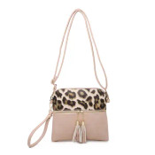 This zippered, tassel bag has a removable/adjustable shoulder strap, gold tone hardware, and a zipper top closure. It also zipper pockets on front and back; inside has a zipper pocket and a slip pocket
