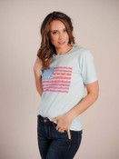 Artsy American flag tee. Crew neck; short sleeves