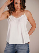 Lovely as a layer or by itself in the summer. Lace lined v-neck; adjustable straps