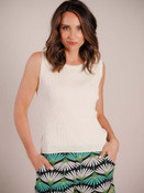 """Ribbed knit tank with round neck. Model is 5' 8"""" wearing a size SM."""