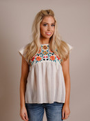 Stripe & Embroidered Babydoll Top