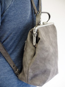 vegan leather charcoal grey convertible backpack