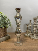 """Antiqued silver mirror glass taper candle holder. 15"""" tall; base is about 3 3/4"""" round."""