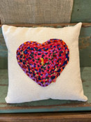 """Multi-color Chindi fabric heart applique on 20"""" square cotton pillow. Insert included. Each Chindi fabric applique is unique; this one features pink, red, and navy fabrics."""