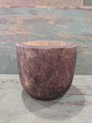 """Carved from Mango wood, this simple modern-shaped pot offers the perfect home for drop-in plantings (no drainage hole; recommended for indoor use). Almost 8"""" round X 7"""" tall."""
