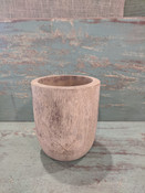 """Carved from Mango wood, this simple modern-shaped pot offers the perfect home for drop-in plantings (no drainage hole; recommended for indoor use). Almost 6"""" round X 7"""" tall."""