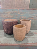 """Carved from Mango wood, this simple modern-shaped pot offers the perfect home for drop-in plantings (no drainage hole; recommended for indoor use). 5"""" round X 5.5"""" tall."""
