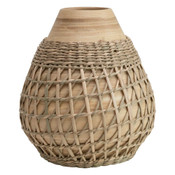 """Bamboo vase with seagrass weave brings a relaxed tropical vibe. 6"""" Round x 7"""" H"""