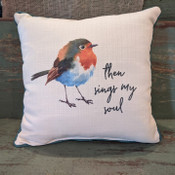 """The perfect way to cozy up any space! """"then sings my soul"""" sentiment is dyed directly into the fabric, so it won't peel or crack; light blue piping around the edge for an extra pop! Made from a soft yet durable polyester fabric, your pillow will arrive stuffed with poly-fill and sewn shut. Approx. 17"""" square; machine washable in cold water, delicate cycle- fluff, air dry flat."""
