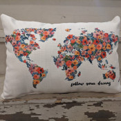 """The perfect way to cozy up any space! """"follow your dreams"""" sentiment and floral world map design are dyed directly into the fabric, so it won't peel or crack. Made from a soft yet durable polyester fabric, your pillow will arrive stuffed with poly-fill and sewn shut. Approx. 20"""" W x 14"""" H; machine washable in cold water, delicate cycle- fluff, air dry flat."""
