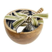 """Mango wood dip cup features white fern pattern on blue enamel interior. Comes with beaded spreader. Bowl is 5"""" Dia x 3"""" H; spreader is 6"""" L"""