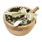 """Mango wood dip cup features white eucalyptus pattern on green enamel interior. Comes with beaded spreader. Bowl is 5"""" Dia x 3"""" H; spreader is 6"""" L"""