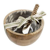 """Mango wood dip cup features white leafy vine pattern on gray enamel interior. Comes with beaded spreader. Bowl is 5"""" Dia x 3"""" H; spreader is 6"""" L"""