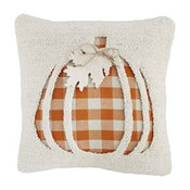 """Hooked wool pillow features checked pumpkin; orange herringbone backing; zipper closure; pillow form included; approx. 16"""" square."""