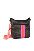 """Neoprene body with top zip and hidden front pocket zipper.  Lined with interior zip pocket and slots.  Includes 2 crossbody straps: olive green and hot pink / olive / orange  Dimensions10.6"""" L × 3.2"""" W × 11.8"""" H"""