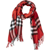 """Red regan scarf This classic plaid scarf keeps you warm and looking great through the fall and winter months. Triangle shaped: 75"""" L x 25.5"""" W."""