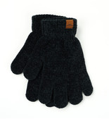 Ultra-soft black chenille gloves with extended wrist cuffs; all the warmth without the weight. One size fits most.