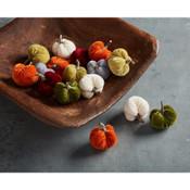 Tiny velvet pumpkins set