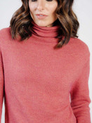 Deep coral and pumpkin heather sweater dress with turtle neck, and long sleeves