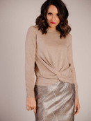 Lightweight gold beige sweater with round neck and faux knot at waist