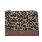 Adele Jen and Co Laptop case clutch brown khaki cheetah